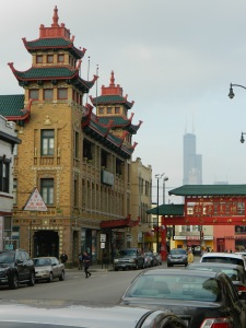 A shot from Chicago's Chinatown. This building isn't in the book, but a place it inspired is. And yeah, that's Sears Tower in the background. They can all it Willis Tower all they want, but Chicagoans know better.